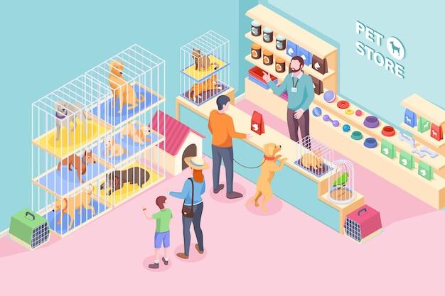 Зоомагазин для кошек и собак, зоомагазин и ветеринарный магазин, изометрия. люди покупают продукты питания и ветеринарные товары на полке зоомагазина, ребенок выбирает щенка, собаку или кошку, кролика и попугая в клетке