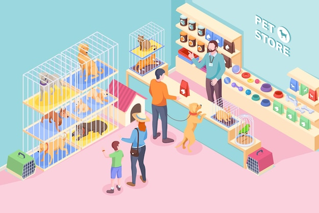 Pet shop cats and dogs, animals and veterinary store, isometric . people buying food and vet products on shelf of pet store, kid choosing puppy dog pet or cat, rabbit and parrot in cage