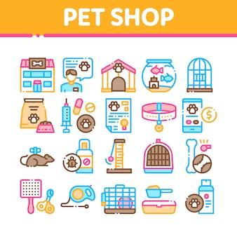 Pet shop collection elements icons set