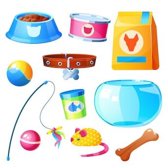 Collezione di negozi di animali. set di accessori per animali domestici elementi isolati