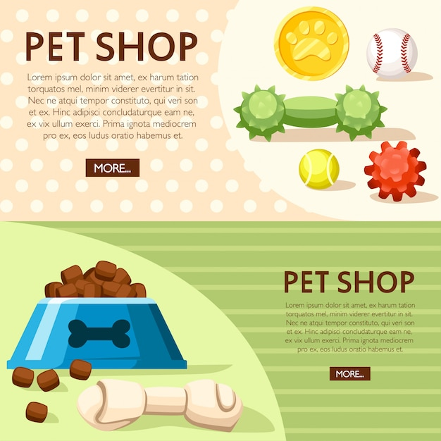 Pet shop concept. bowl, balls and toy bones.  illustration on background with dotted and line texture. place for your text. website page and mobile app