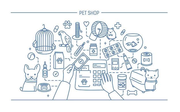 Pet shop contour illustration with animals and meds selling.