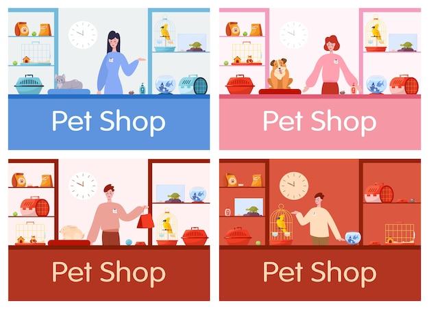男性と女性の労働者の売り手とペットショップカウンターインテリア。ストア内の家畜のための食糧およびおもちゃ。犬と猫の世話。イラストのセット