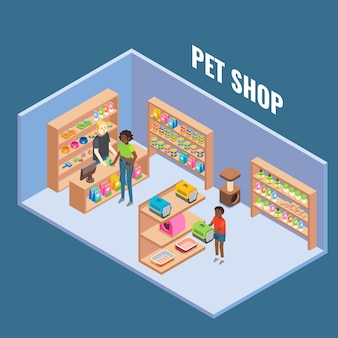 Pet shop cutaway interior flat isometric illustration