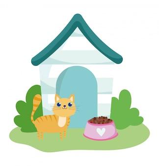 Pet shop, cute cat house and food dish animal domestic cartoon