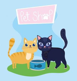 Зоомагазин, милые кошки с рыбками, можно кормить животных, домашний мультфильм Premium векторы