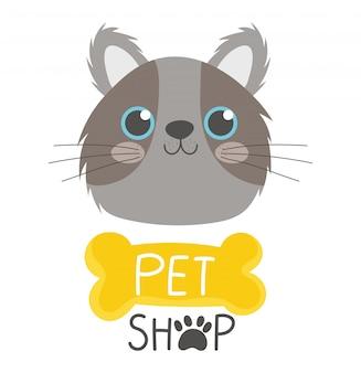 애완 동물 가게, 귀여운 회색 얼굴 고양이와 뼈 상징 만화 벡터 일러스트 레이션