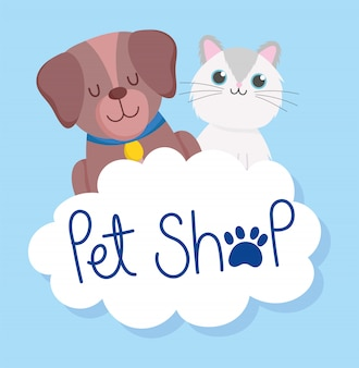 Pet shop, cute little dog and cat cloud paw veterinary clinic food