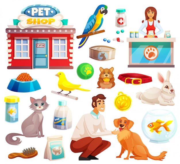 Pet shop decorative icons set
