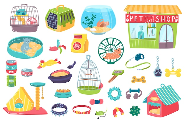 Pet shop for domestic animals care accessory objects