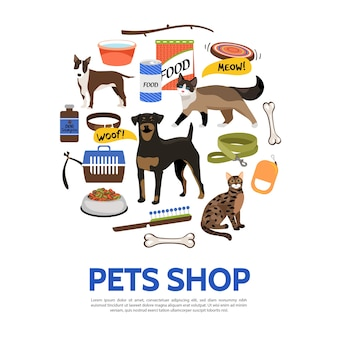 Pet shop elements template in flat style
