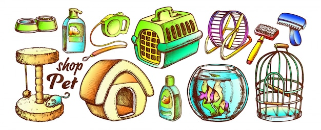 Pet shop equipment assortment