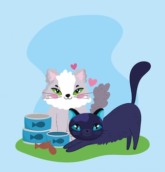 애완 동물 가게, 물고기 캔과 쿠키가있는 솜털 새끼 고양이 동물 국내 만화