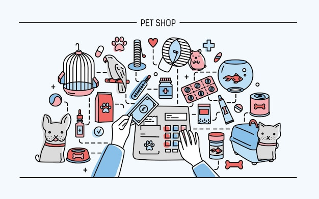 Горизонтальная иллюстрация зоомагазина с изображением животных и продажи лекарств.