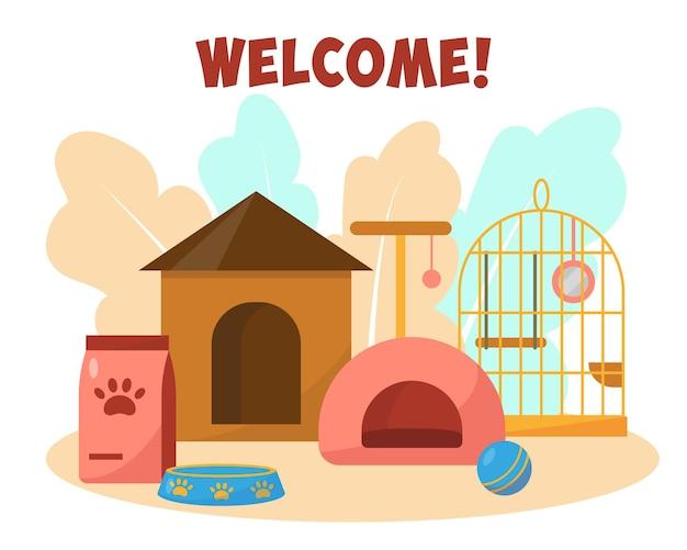 Pet shop or hotel concept pets care services