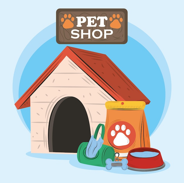 Pet shop, house bowl with water food and bags  illustration