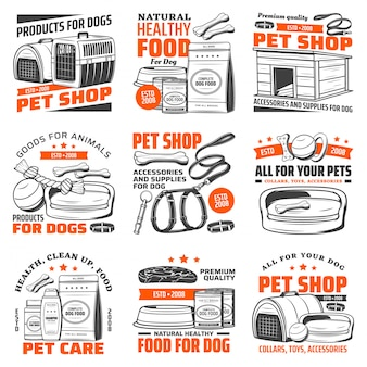 Pet shop icons with dog care supplies, animal food