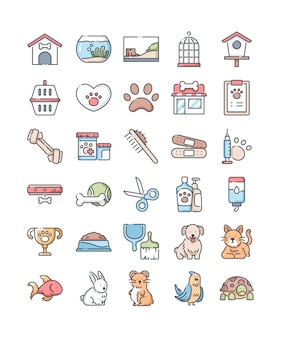 Pet shop line color icons set