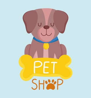 Pet shop, little dog sitting with collar and bone animal cartoon vector illustration