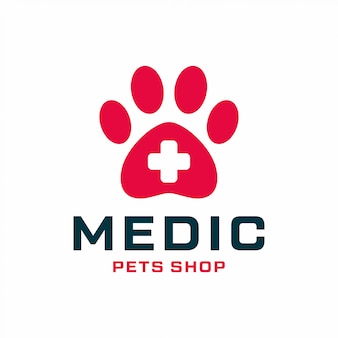 Pet shop logo design concept. universal medical pet shop logo.