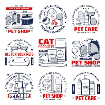 Pet shop logo with cat care supplies