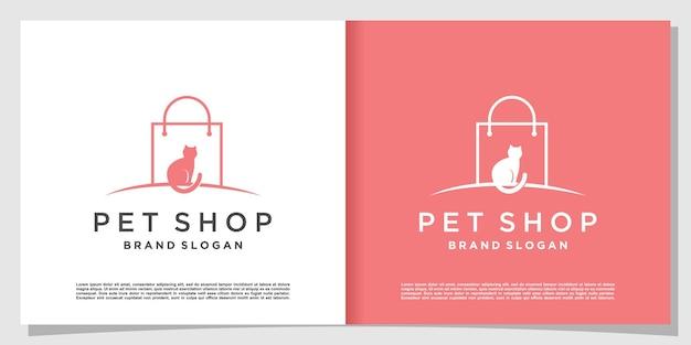モダンなグラデーションラインアートスタイルと名刺デザインテンプレートプレミアムベクトルとペットショップのロゴ