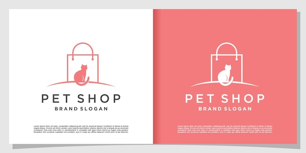 Pet shop logo with modern gradient line art style and business card design template premium vector