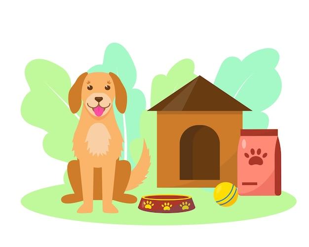 애완 동물 가게 또는 애견 호텔 개념 애완 동물 관리 서비스
