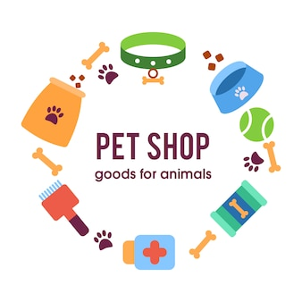 Pet shop poster, dog with pet items