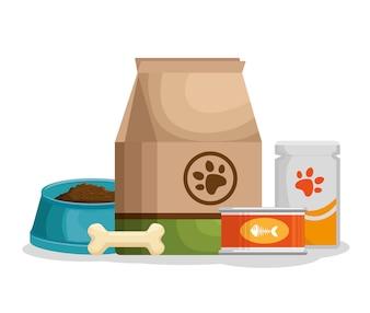 Pet shop products set icons