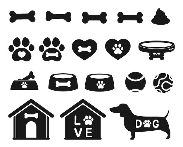 Зоомагазин набор аксессуаров для собаки мяч кости и дом, изолированные на белом фоне.