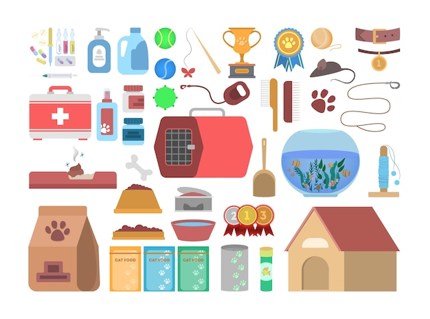 동물 용 상품이 다른 펫샵 세트. 상점에서 애완 동물을위한 음식과 장난감. 개와 고양이 관리. 삽화