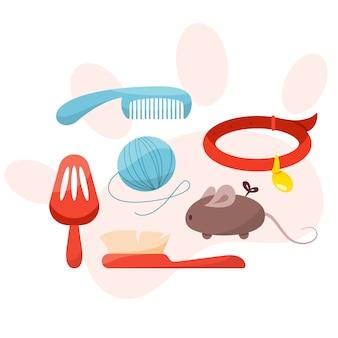 반려견 용 상품이 다른 펫샵 세트. 음식과 장난감