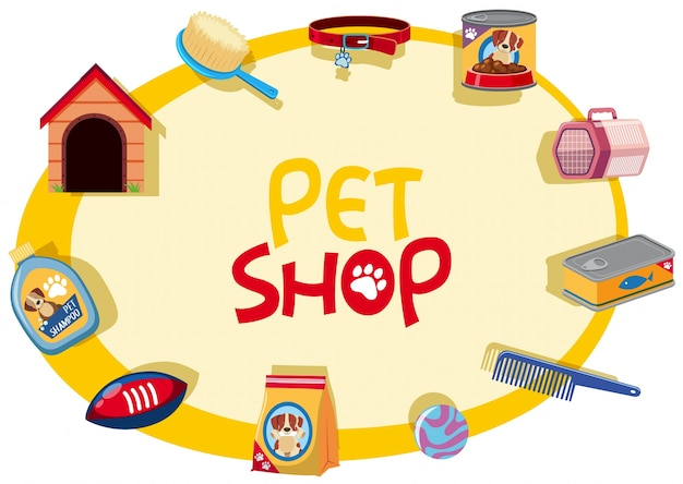 Pet shop sign with many pet accessories