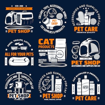 Pet shop supplies isolated icons, cat animal care