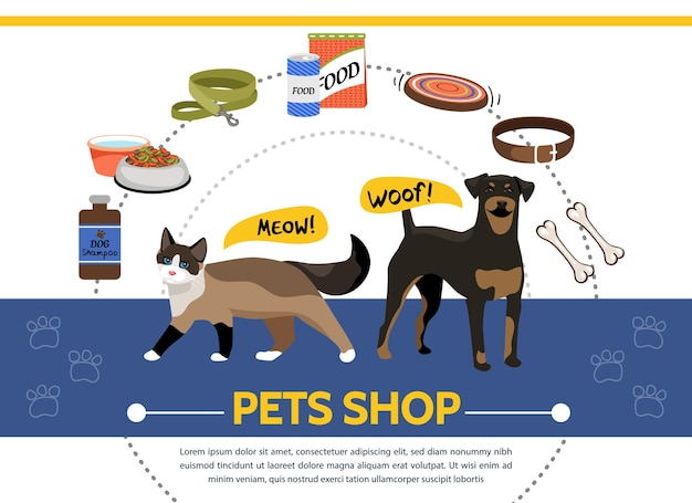 Pet shop template with cat and dog supplies