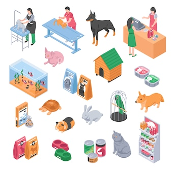 Pet shop veterinary grooming icon set