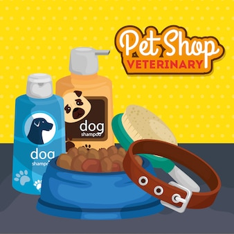 Pet shop veterinary with care bottles