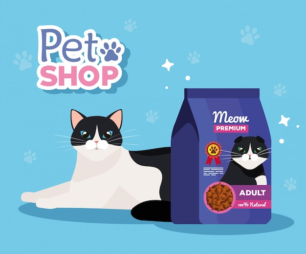 Pet shop veterinary with cat and bag food