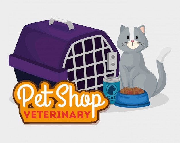 Pet shop veterinary with cat and box carry