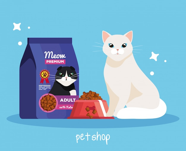 Pet shop veterinary with cat and food