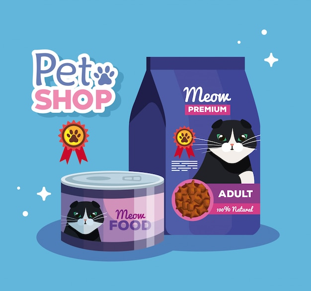 Pet shop veterinary with food cat