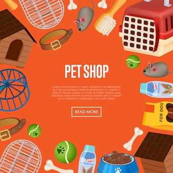 Pet shop web template in cartoon style