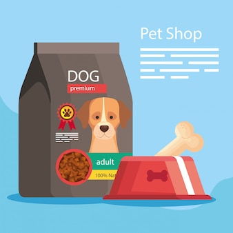 Pet shop with bag and dish food
