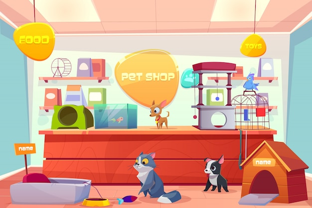 Pet shop with home animals, store interior with cat, dog, puppy, bird, fish in aquarium.