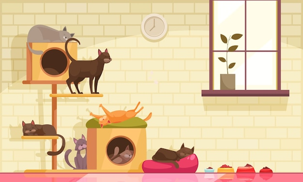 Pet sitter cats composition with indoor view of room with window and cats cradles with food