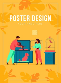 Pet store or animal shelter concept. man taking puppy from cage, buying or adopting dog. volunteers helping to choose homeless animal for adoption