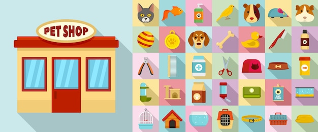 Pet store icon set
