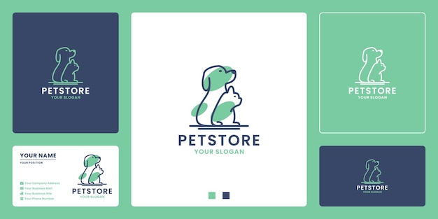 Pet store logo design. dog and cat combination