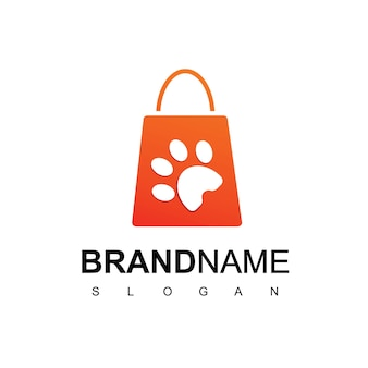 Pet store logo design template with silhouette paw on shopping bag symbol